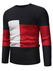 Color Blocking Spliced Pullover Sweater -