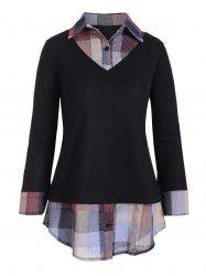 Plaid Panel Mixed Media Button Placket Knitwear -