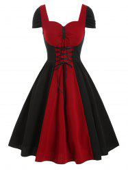 Two Tone Lace Up Ruched Sweetheart Dress -