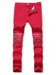 Solid Color Zipper Decorated Casual Jeans -