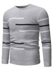 Contrast Stripes Crew Neck Pullover Sweater -