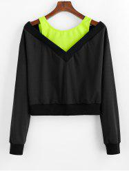 Sweat-shirt Court Bicolore Grande Taille à Col Rond -