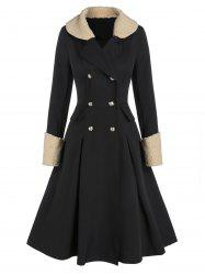Double Breasted Faux Shearling Collar A Line Long Coat -