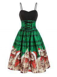 Christmas Cat Musical Note Lace Up Party Dress -