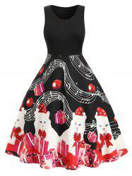 Plus Size Musical Note Cat Gift Print Fit and Flare Dress -