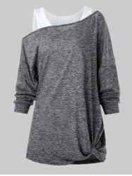 Skew Collar Marled T Shirt with Solid Tank Top -