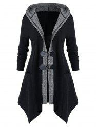 Плюс размер мундир Two Tone Hooded Coat - Чёрный 5X