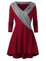 A Line Knitted V Collar Casual Dress -