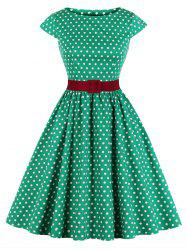 Plus Size Polka Dot Belted Cap Sleeve Dress -