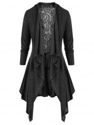 Plus Size Open Front Lace Panel Tunic Cardigan -