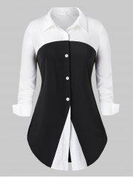 Plus Size Two Tone Button Up Curved Work Shirt -
