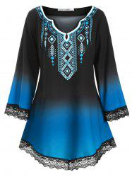Longline Printed Scalloped Lace Panel Plus Size Blouse -
