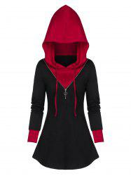 Contrast Tunic Zippered Hoodie -