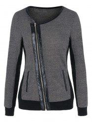 Zipper Fly Two Tone Round Collar Coat -