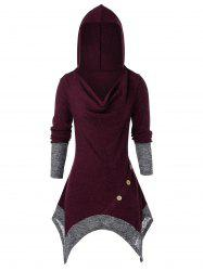Plus Size Cowl Front Hooded Asymmetrical Tunic Knit Sweater -