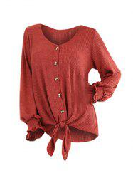 Plus Size V Neck Solid Button Sweater -