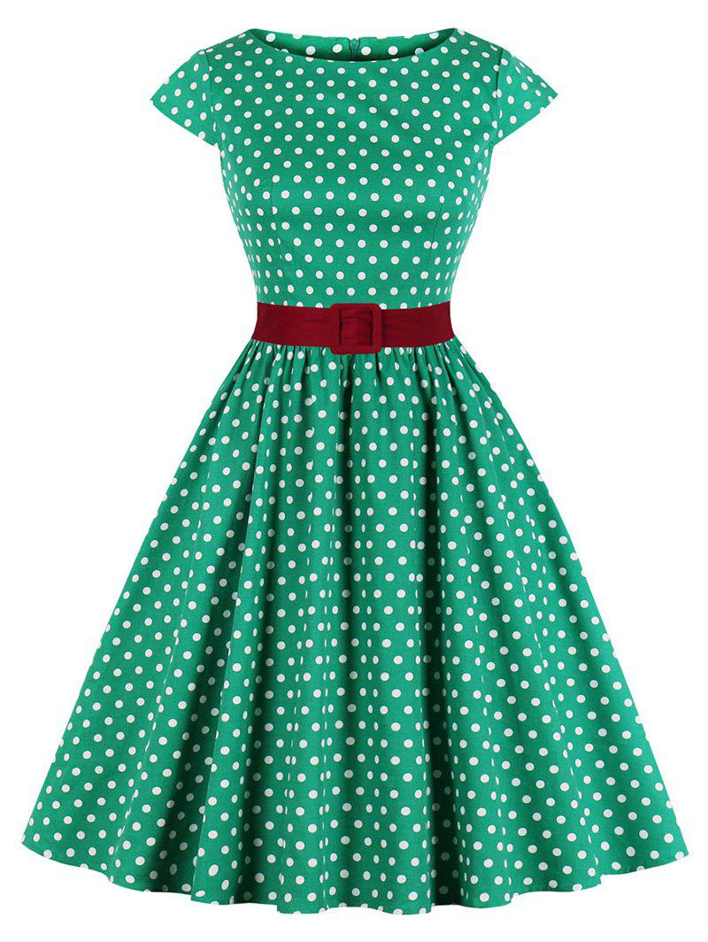 Best Plus Size Polka Dot Belted Cap Sleeve Dress