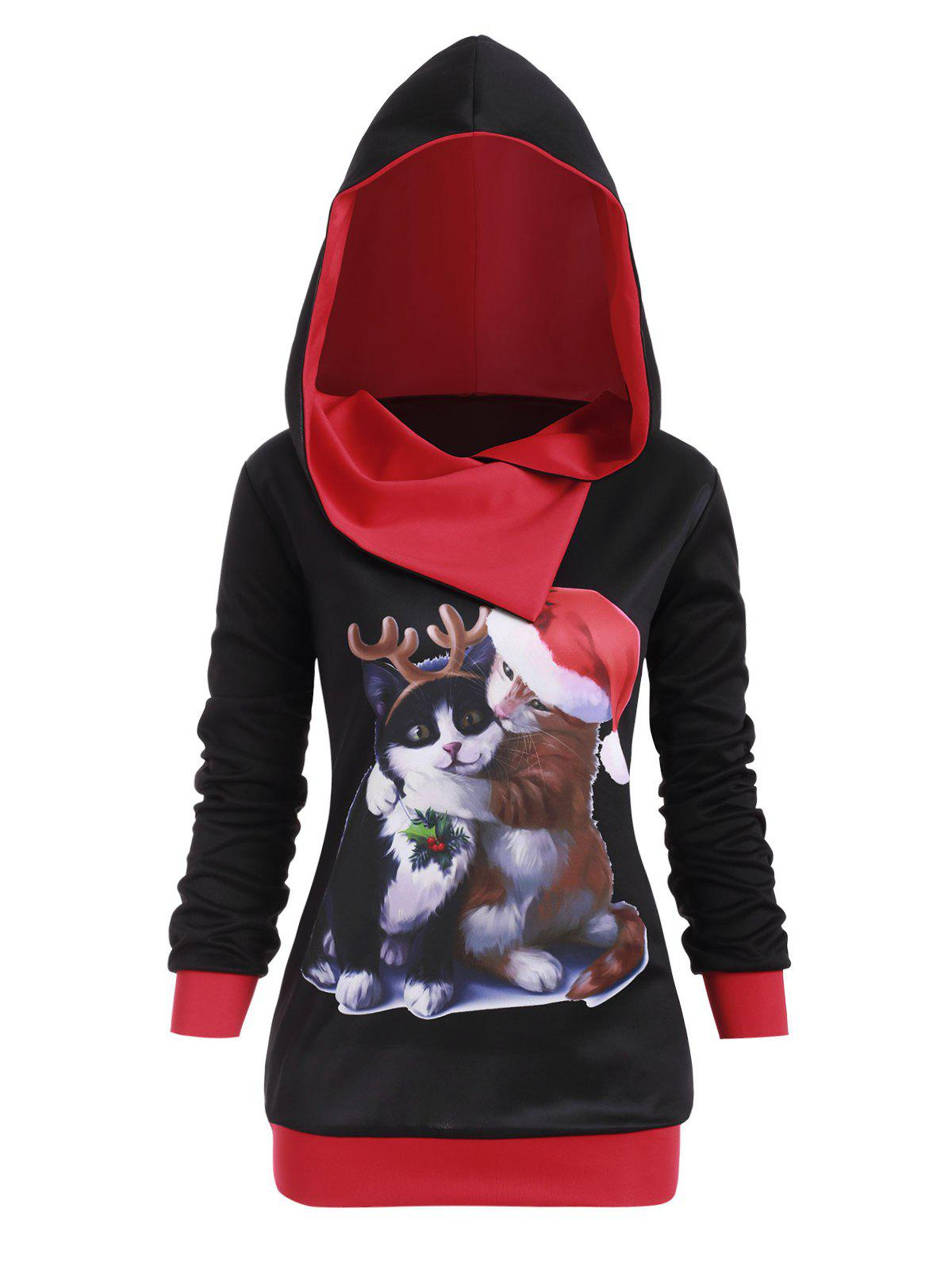 Plus Size Cat Graphic Hoodie de Noël Noir 1X