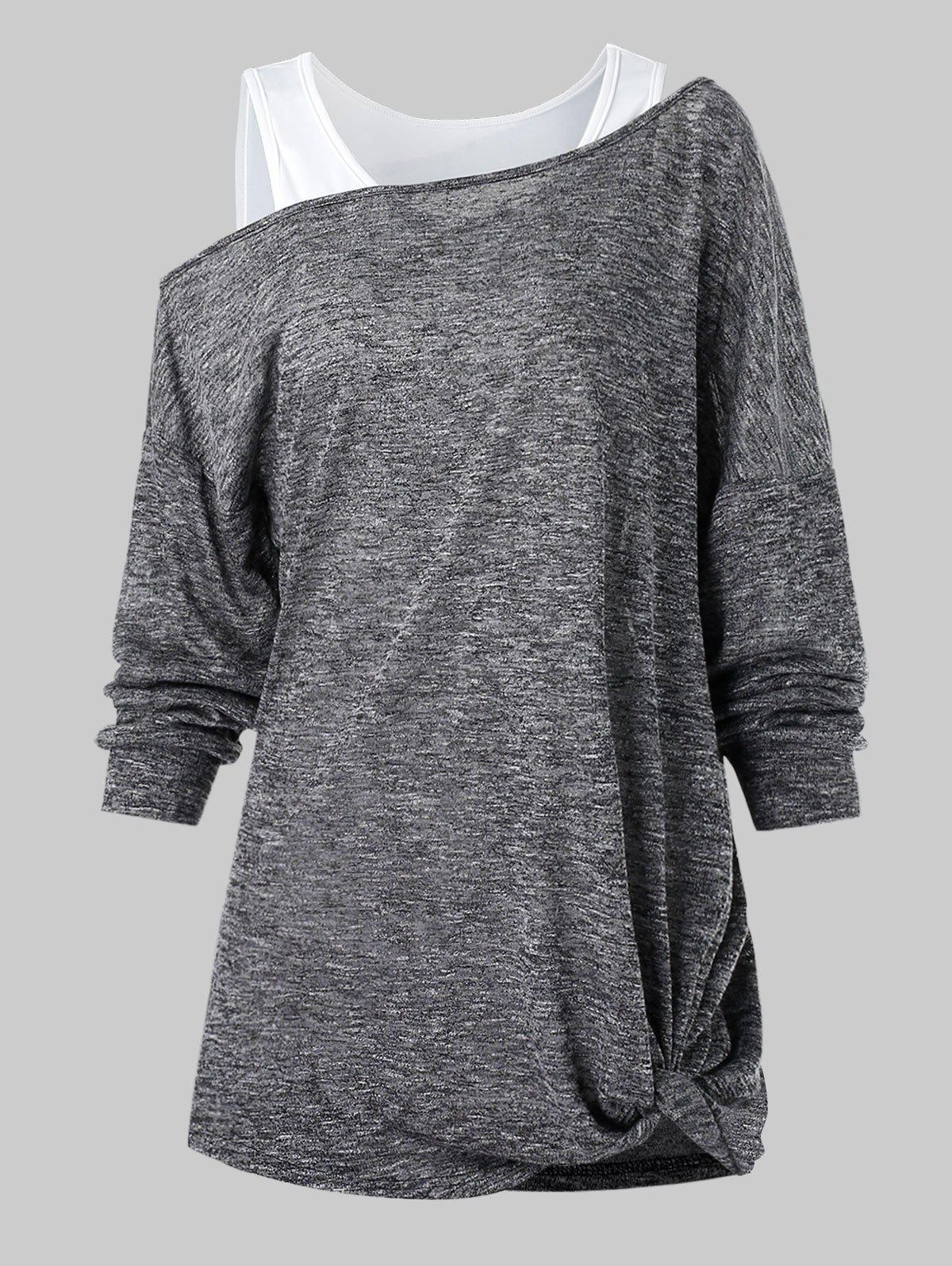 Cheap Skew Collar Marled T Shirt with Solid Tank Top