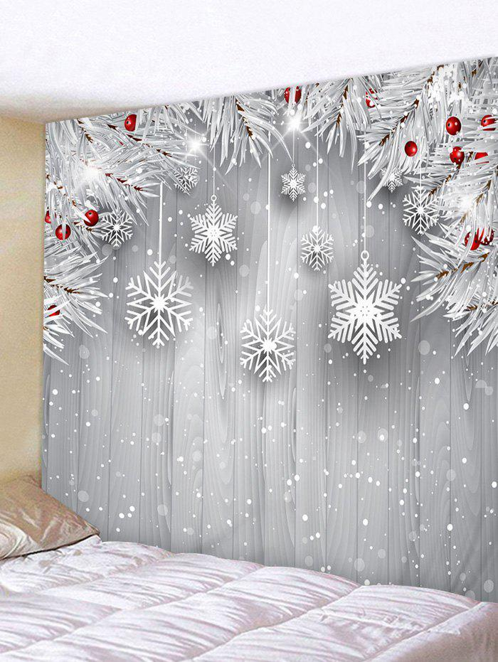 Chic Christmas Tree Branch Snowflake Print Wall Tapestry