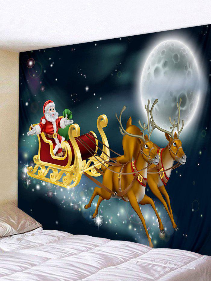 Unique Moon Night Christmas Santa Elk Print Decorative Tapestry