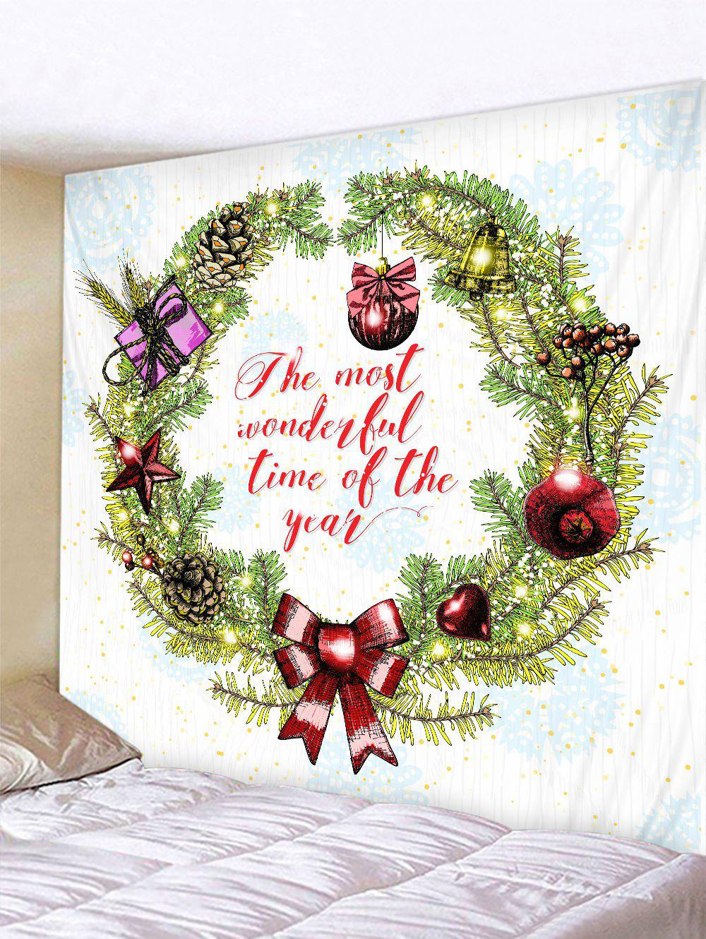 Latest Christmas Garland Letter Pattern Print Wall Art Tapestry