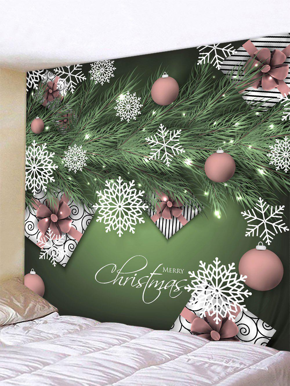 Affordable Christmas Snowflake Ball Print Hanging Wall Tapestry