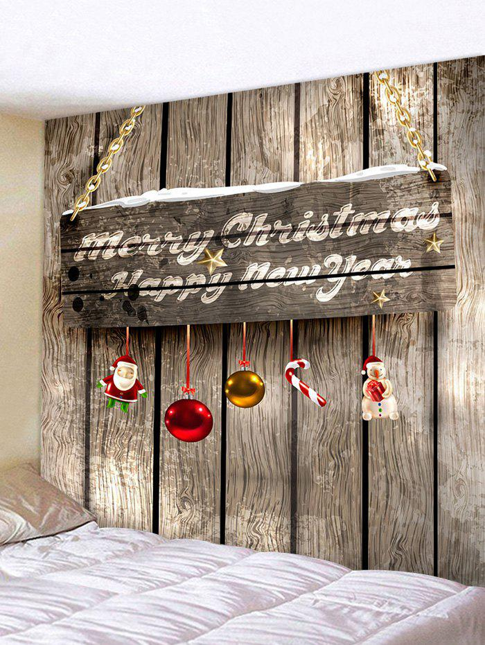 Trendy Christmas Wood Door 3D Print Wall Tapestry