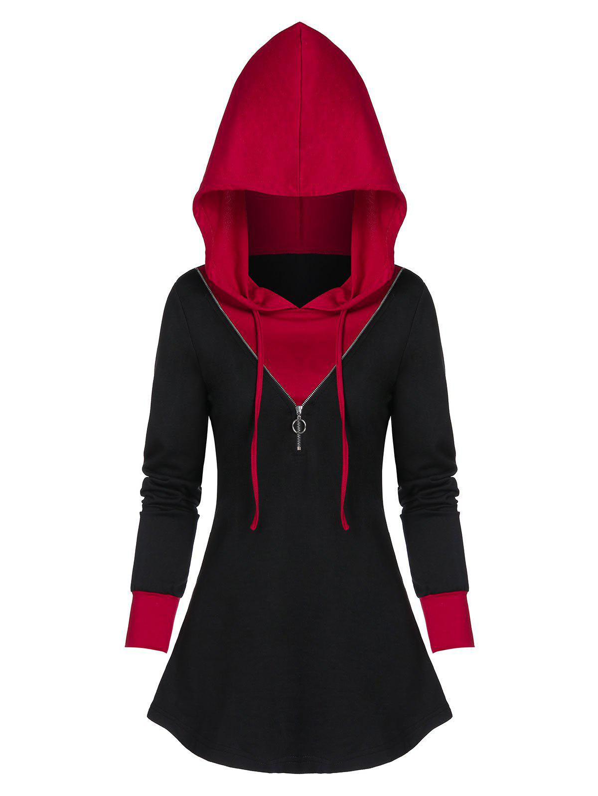 Fancy Contrast Tunic Zippered Hoodie