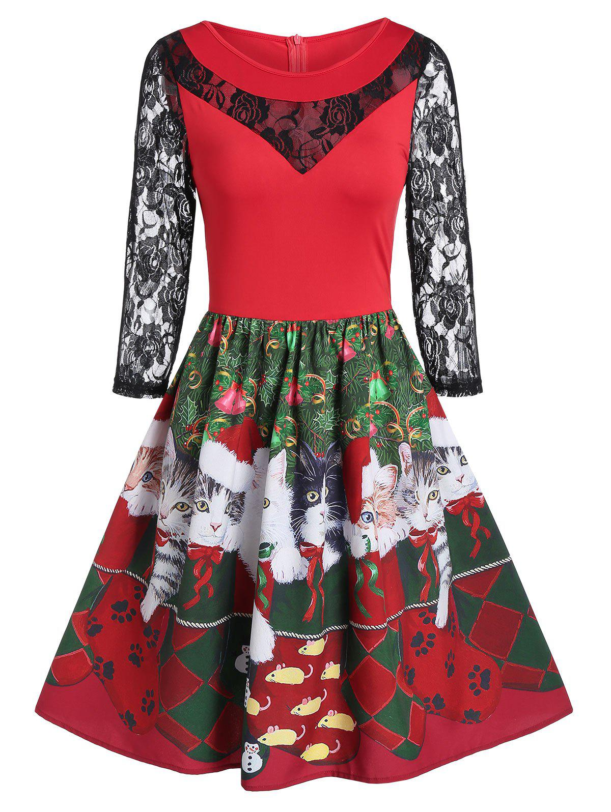 Trendy Lace Insert Fit And Flare Animal Print Christmas Dress