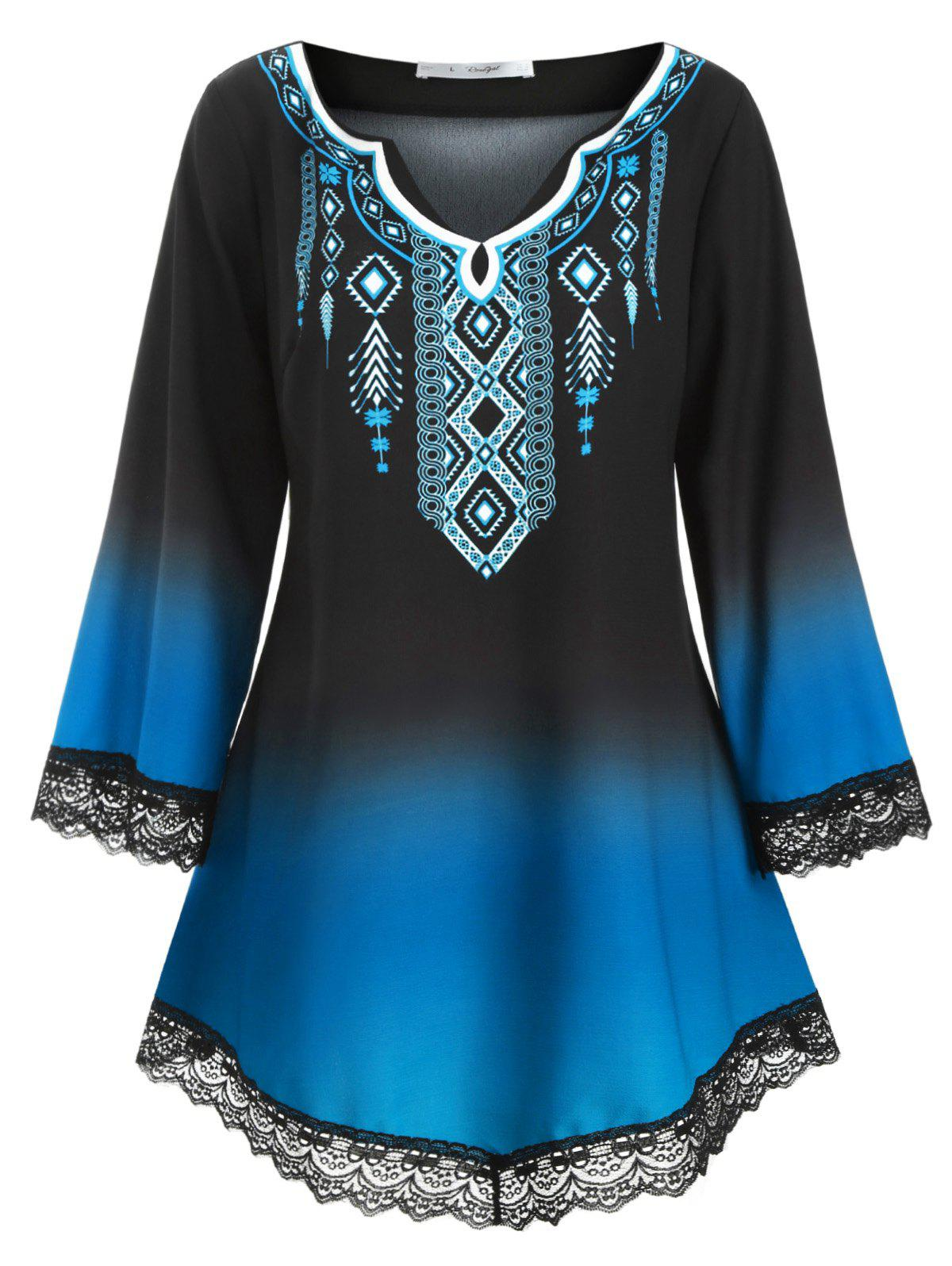 Affordable Longline Printed Scalloped Lace Panel Plus Size Blouse