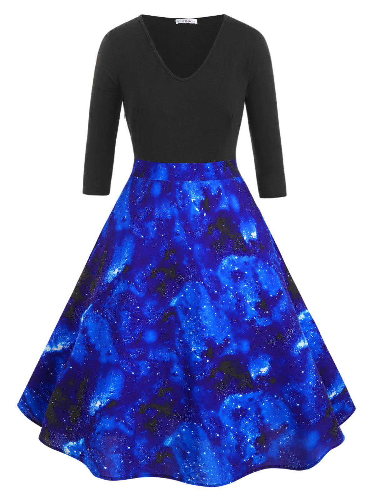 V Neck Sparkle Contrast Galaxy Print Plus Size Dress