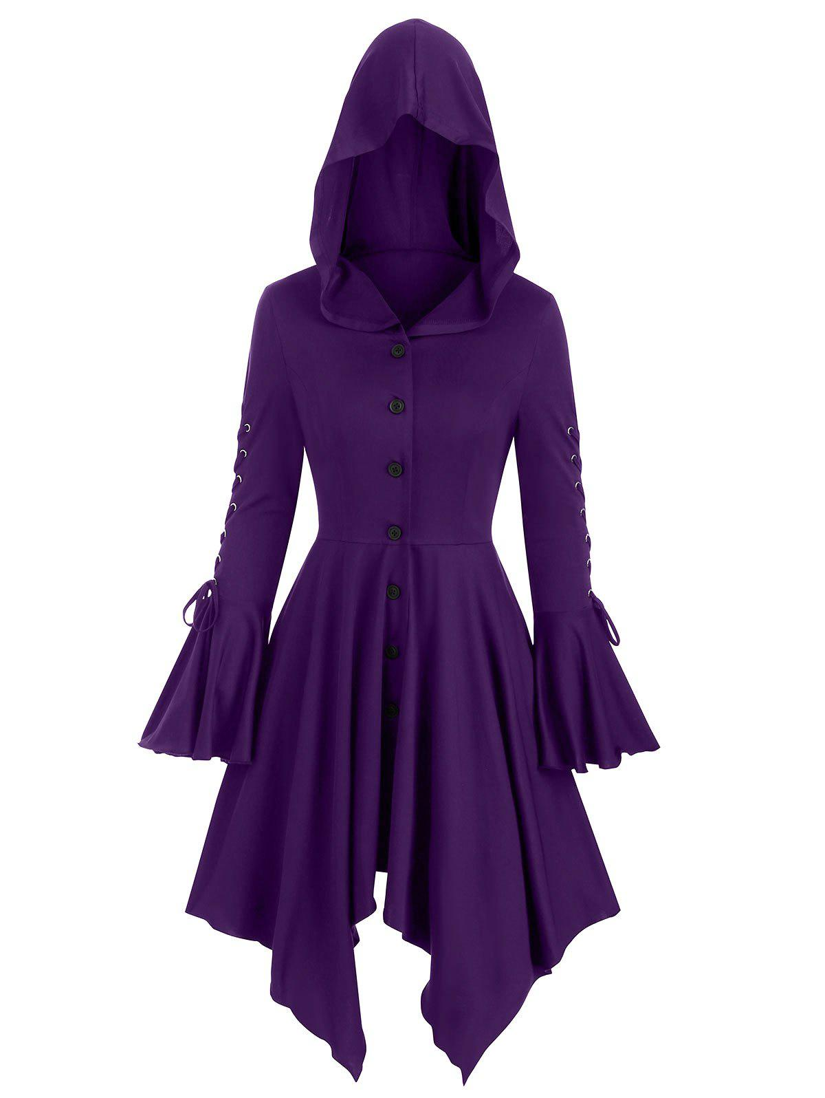 Chic Lace-up Poet Sleeve Hooded Hanky Hem Gothic Skirted Coat