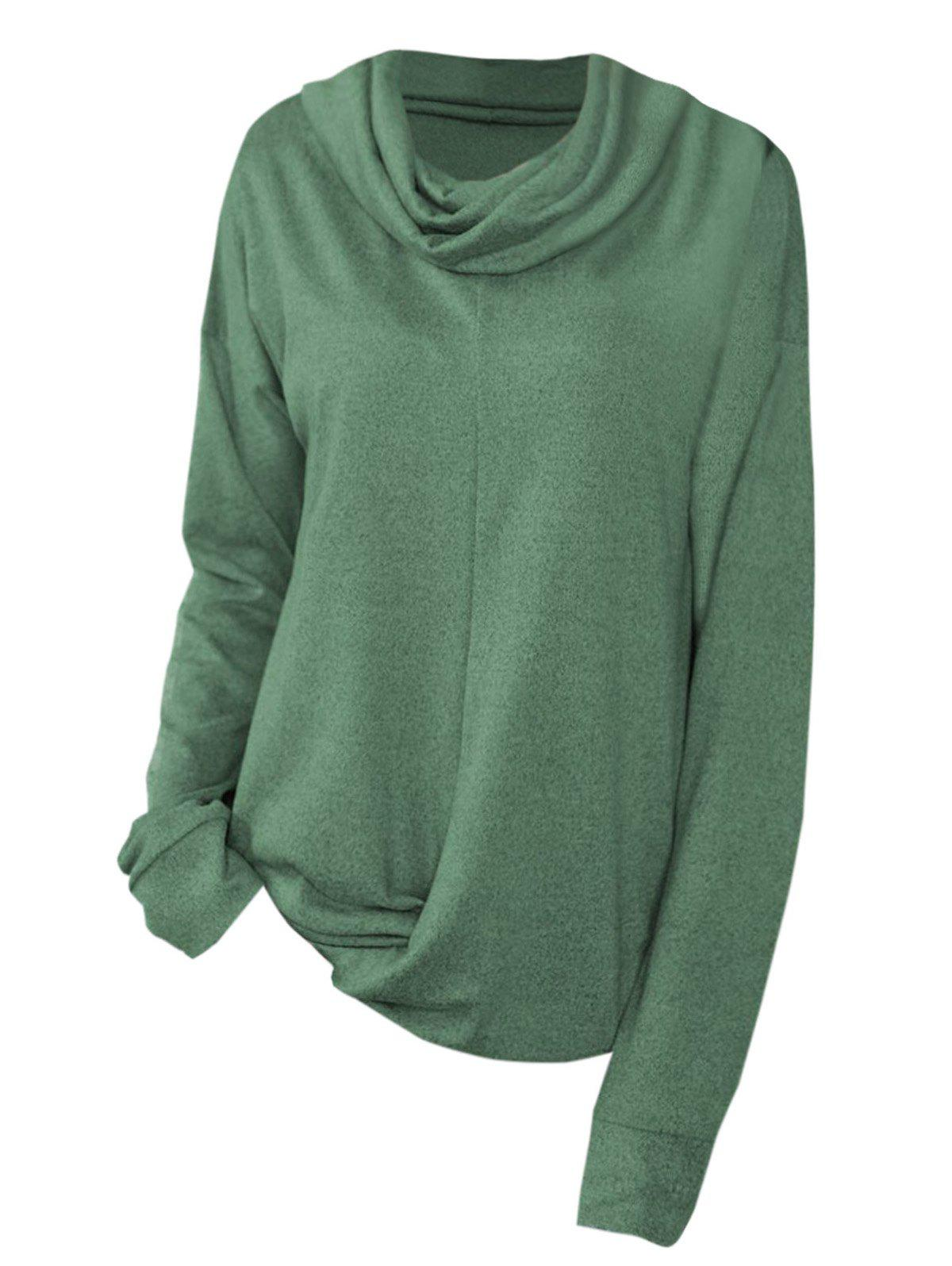Cowl Neck Twist Hem Sweat-shirt Taille Plus