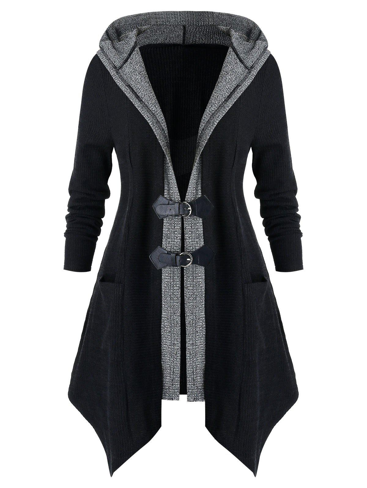 Плюс размер мундир Two Tone Hooded Coat Чёрный 5X