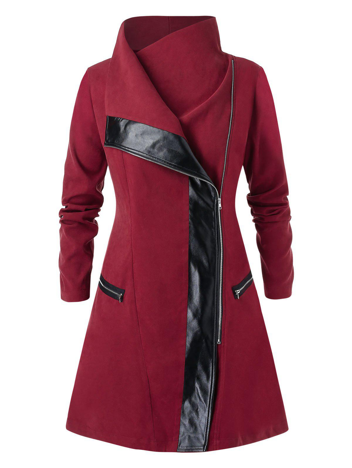 Best Plus Size Two Tone Tunic High Collar Coat
