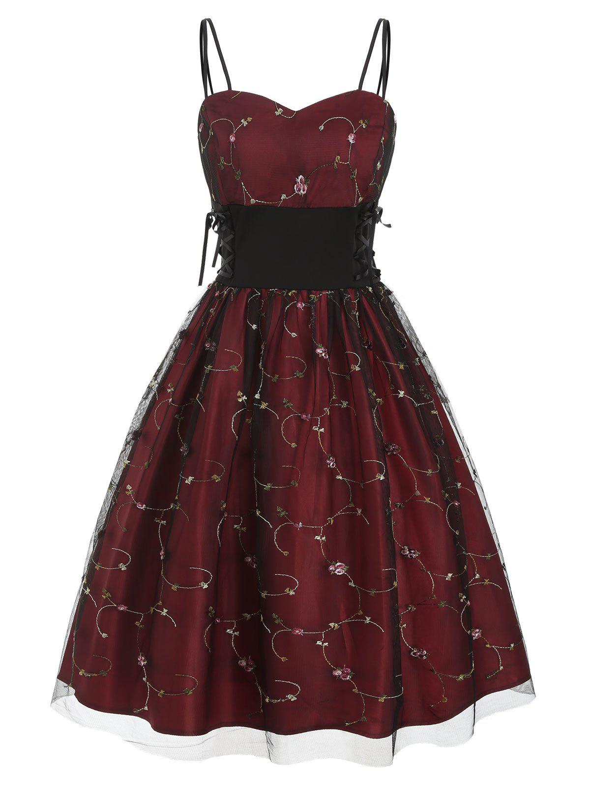 Affordable Floral Embroidered Lace Up Prom Dress