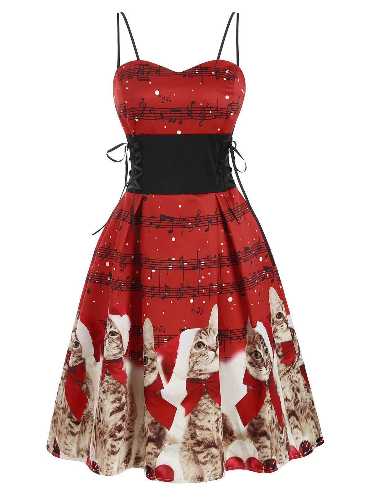 Hot Christmas Cat Musical Note Lace Up Prom Dress