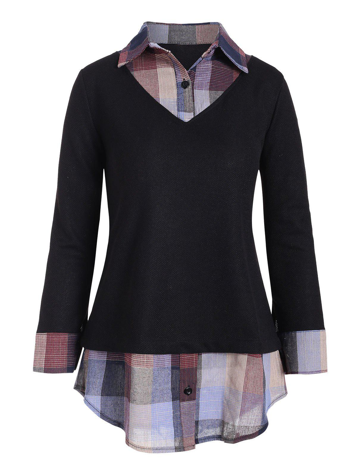 New Plaid Panel Mixed Media Button Placket Knitwear