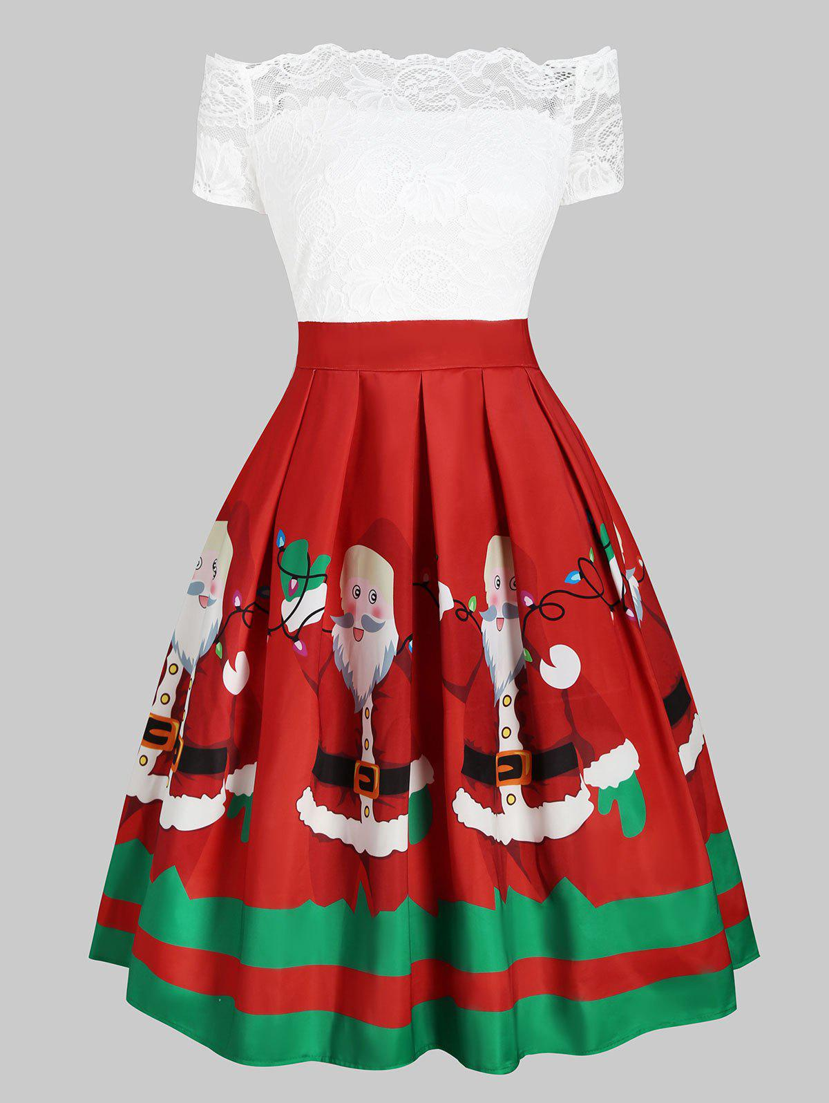 Unique Christmas Santa Claus Floral Lace Off Shoulder Dress