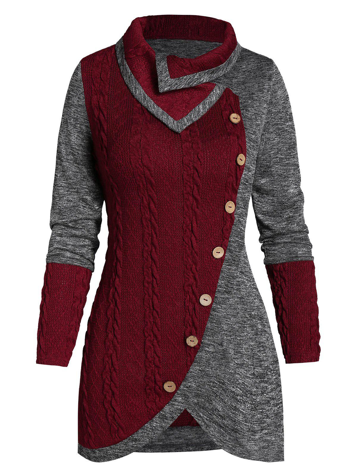 Sale Turn-down Collar Contrast Tunic Sweater