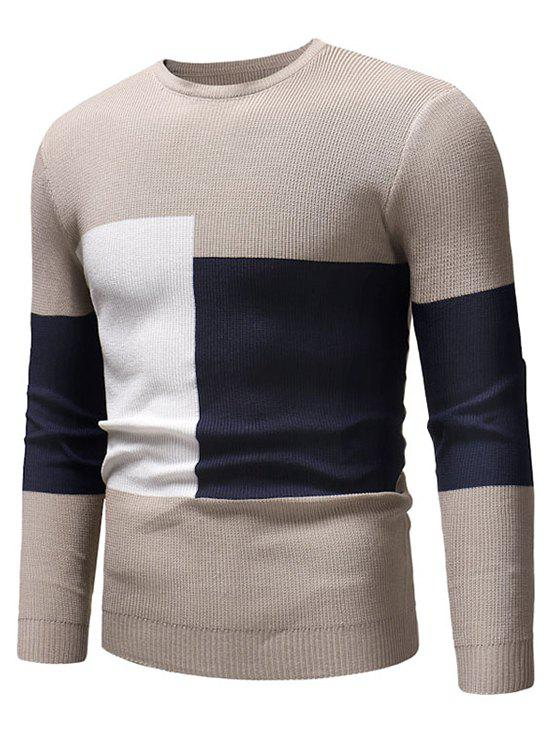 Trendy Color Blocking Spliced Pullover Sweater