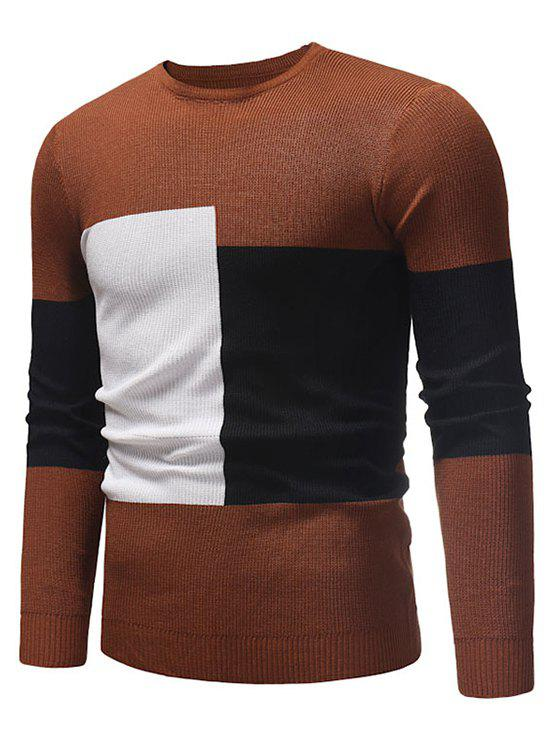 New Color Blocking Spliced Pullover Sweater