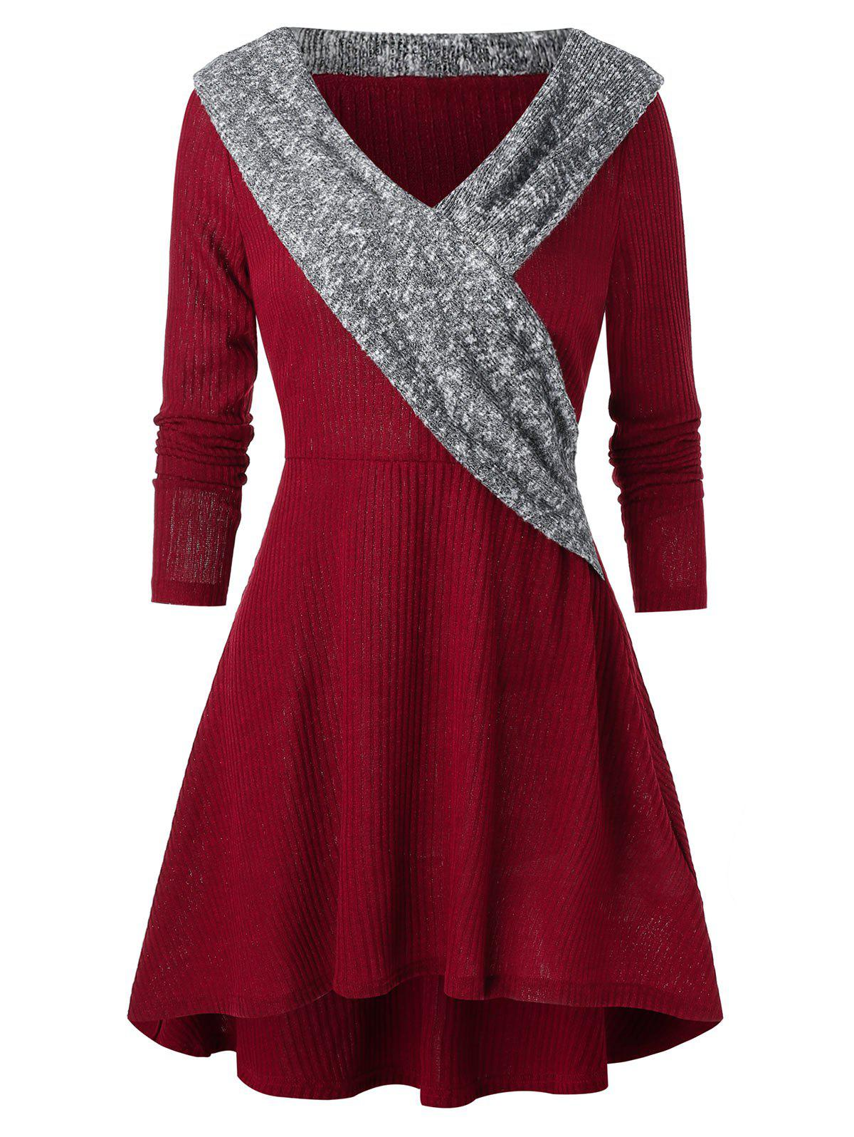 Shop A Line Knitted V Collar Casual Dress