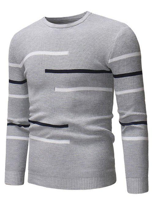 Latest Contrast Stripes Crew Neck Pullover Sweater