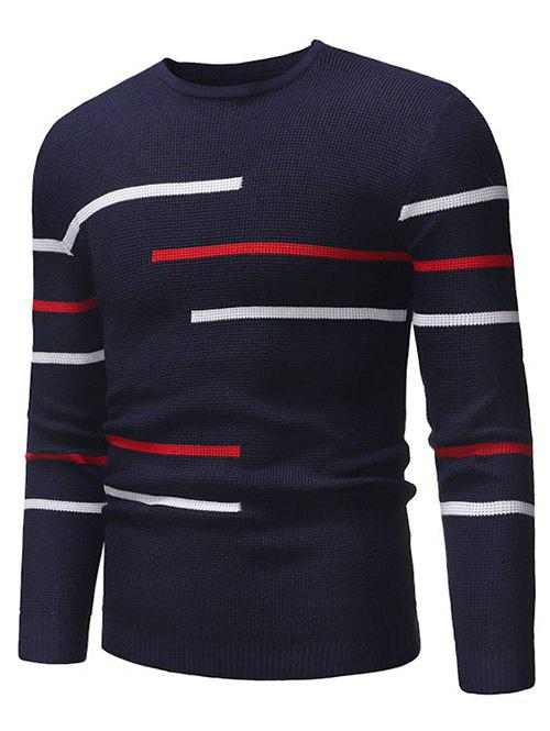 Best Contrast Stripes Crew Neck Pullover Sweater