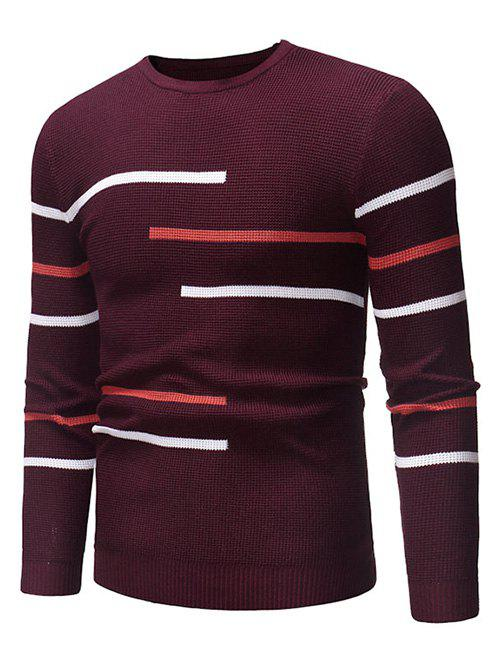 Chic Contrast Stripes Crew Neck Pullover Sweater