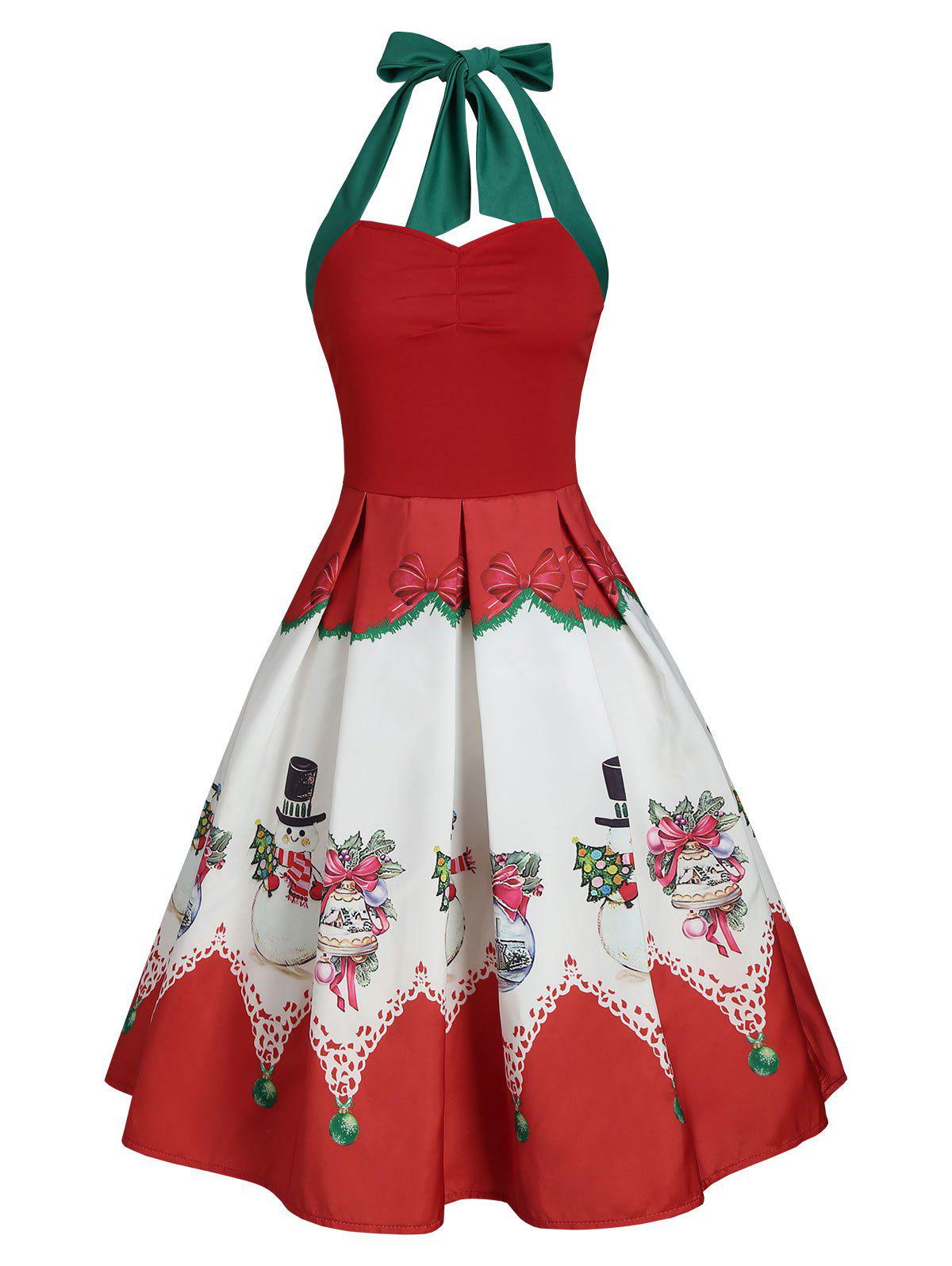 Affordable Christmas Snowman Bowknot Print Halter Vintage Dress