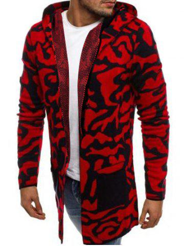 Camouflage Graphic Splicing Pocket Hooded Cardigan