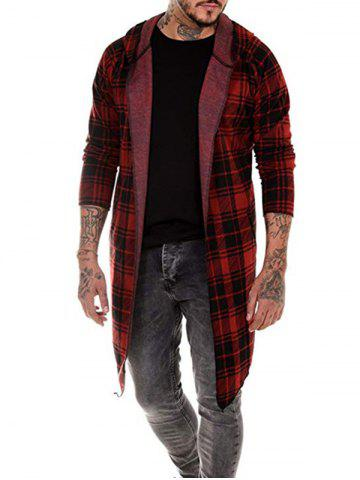 Plaid Pattern Asymmetric Hooded Cardigan